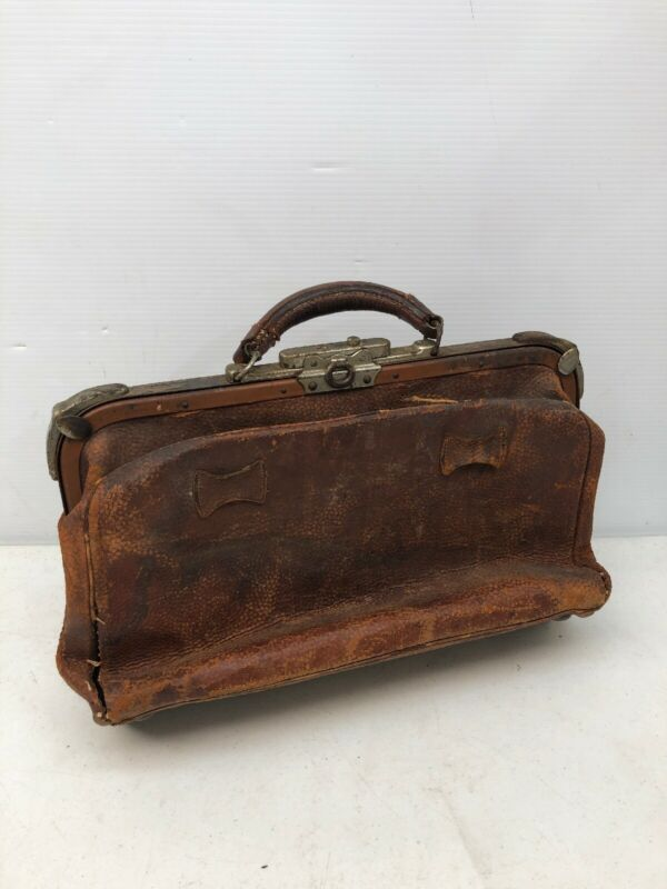 Rare 1900 Vintage Brown Textured Pebbled Leather Medical Doctor Physician
