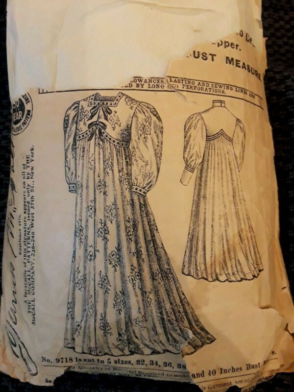 Vintage McCalls RARE Victorian Wrapper Pattern 9718