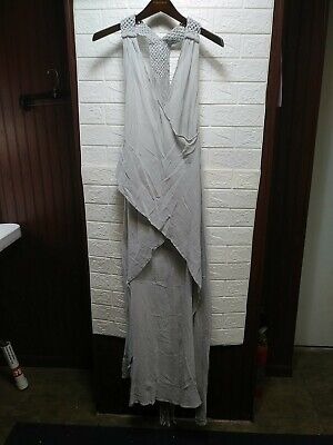 Caravana Womens Yabak Sleeveless Cotton Halter Dress with Draped Tassel Silver