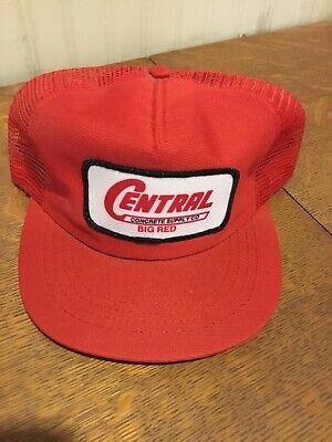 Vintage Central Concrete Supply Co. Big Red Snapback Advertising Hat