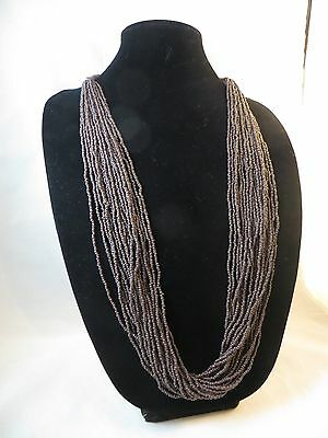 Multi Strand Beaded Necklace 20 Strands Small Brown Beads Long Beaded Necklace](Small Beads Necklace)