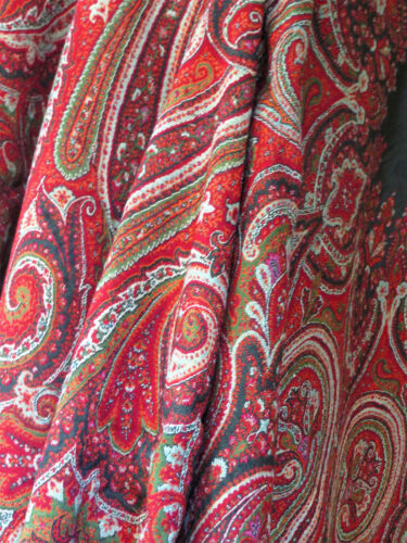 Antique Kashmir Hand Woven Wool Paisley Piano Shawl