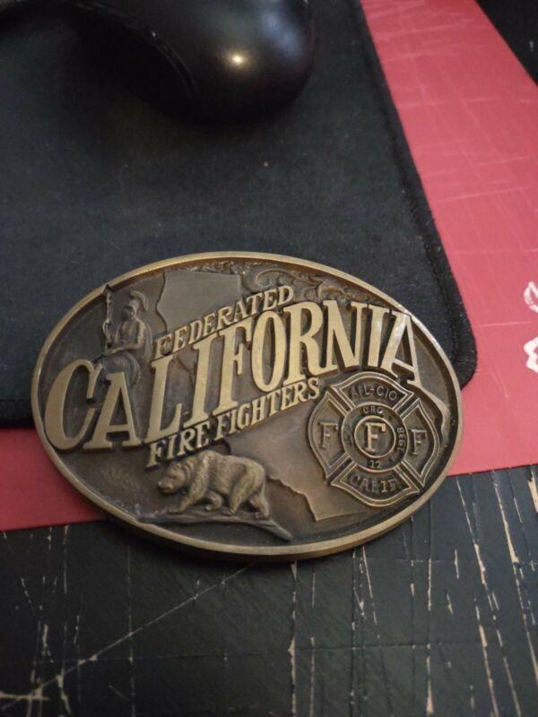 Vintage Solid Brass Federated California Firefighters Belt Buckle 1984 Norman