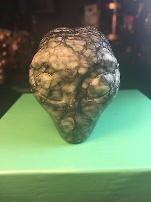 "2.0"" Black Picasso Jasper Crystal Alien Starman Carved Healing Skull"