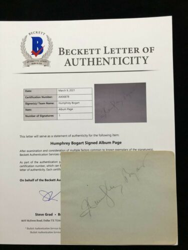 Humphrey Bogart Signed Autographed Album Page BAS BECKETT LOA