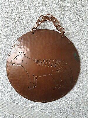 Vintage Weeda Copper Wall Hanging Tasmanian Tiger Tasmania Australia 1960s