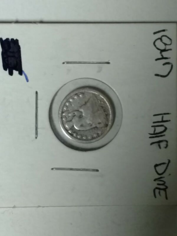 1847 SEATED LIBERTY HALF DIME OLD U.S TYPE COIN