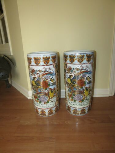 Vtg Pair Chinese Umbrella Vase 20th C Satsuma Moriage Raised Enamel Hand Painted