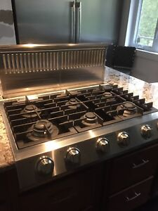 """36"""" Gas Cooktop & Ventilation Stainless Steel"""