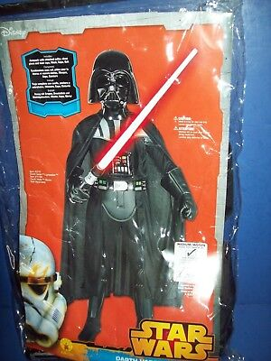 Star Wars Deluxe Darth Vader Halloween Kostüm + Maske Kind Medium Size 8-10 Neu