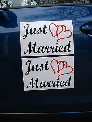 (2) JUST MARRIED CAR MAGNETIC SIGNS 8