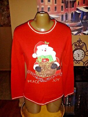 Awesome Vintage Ugly Christmas Sweater Santa, sequin embroidered sz Small 4/6