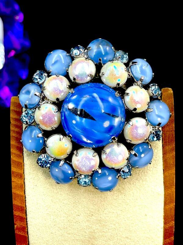 Vintage Austrian Blue Iridescent Cabochons