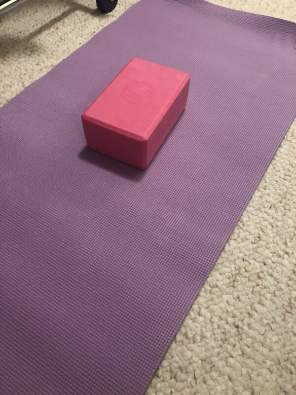Exercise mat and yoga block