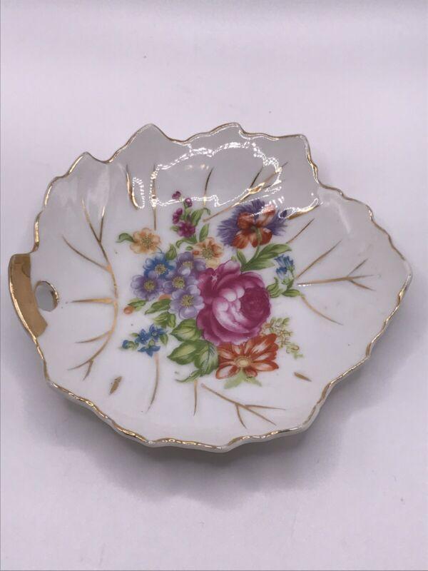 VTG NASCO China Candy Nut Trinket Dish Floral Design Gold Trim Made in Japan