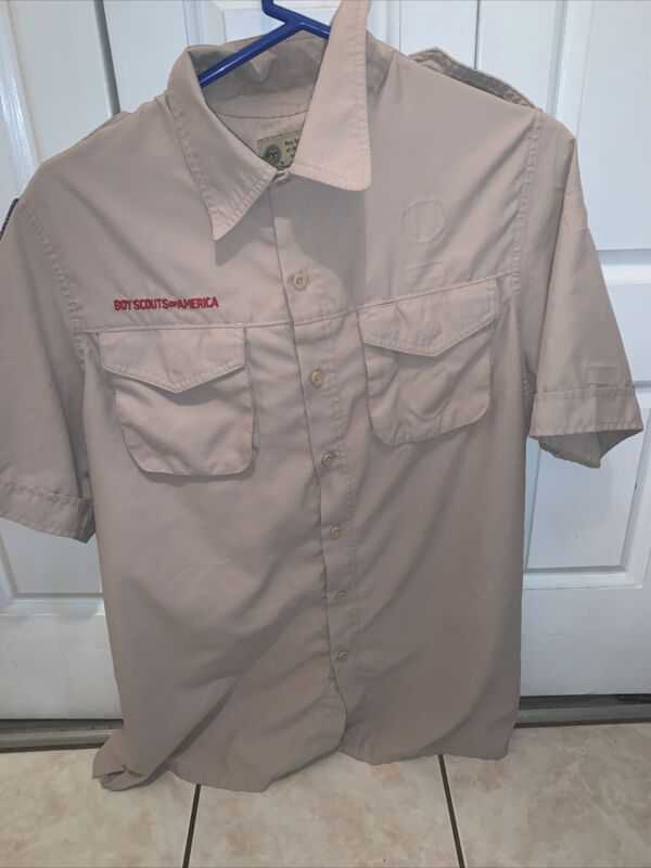 Vented Poly Microfiber Boy Scout BSA UNIFORM SHIRT Mens Medium Short Sleeve K64