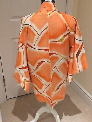 Vintage Ladies' Japanese Ivory/Orange 'Abstract Waves' Kimono Haori Jacket XS
