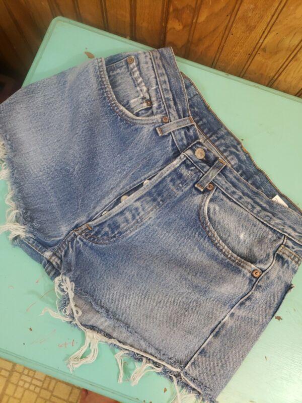vintage levis cut-offs denim jean shorts button fly 501 cut off 70