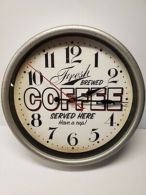 """Retro Vintage Style Fresh Brewed Coffee Served Here 11.5"""" Wall Clock"""