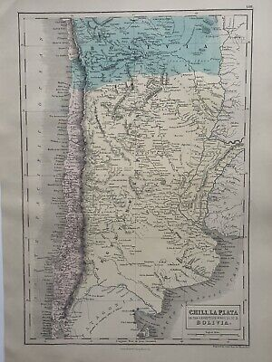 1854 Chile Argentina, Bolivia Hand Coloured Original Antique Map by Selina Hall
