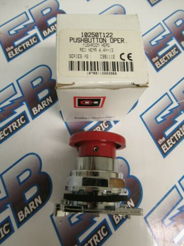 CUTLER HAMMER 10250T122, Series A2, Red Mushroom Head Push Button Operator-NEW-B
