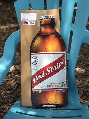 "RED STRIPE BOTTLE Metal Beer Sign Man Cave New 24""X 9.74"""