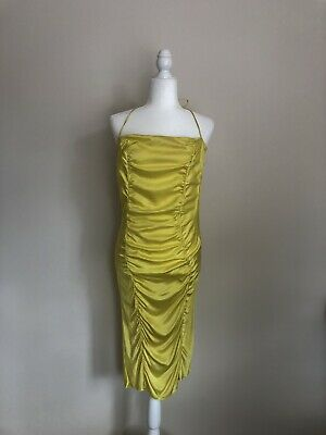 Jo No Fui Yellow Silk Blend Ruched Dress Made In Italy IT44