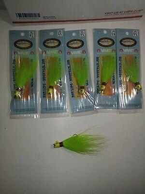 5 oz Hot Lips Bucktail Jig 5 PACK Chartreuse Green