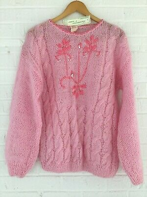 NEW ITALY SWEATER WOMENS M DUE ESSE NWT Pullover PINK CABLE LOOPY KNIT SEQUINS M