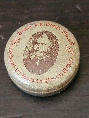 Old tiny sample? Tin medical Burnley, Parkinson's chemist back & kidney pills
