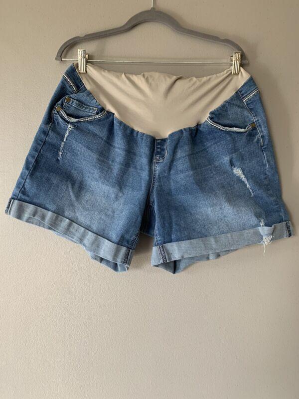 Indigo Blue Maternity Jean Shorts 2X Medium Wash Blue Pockets Stretchy