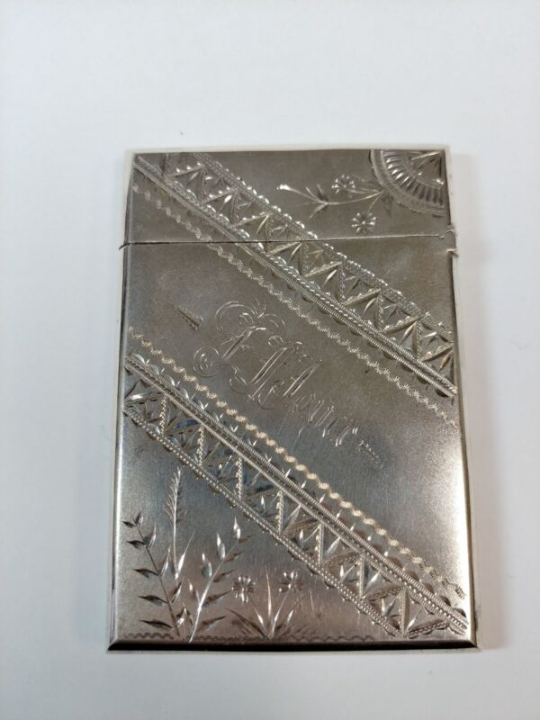 Vintage Sterling Silver Business Card Holder Etched Decorations