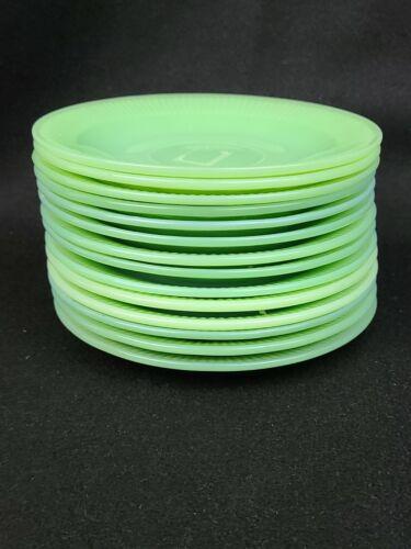 "Vintage JADITE Green Anchor Hocking Fire King Saucer Plates 14 Total 5 7/8"" Lot"