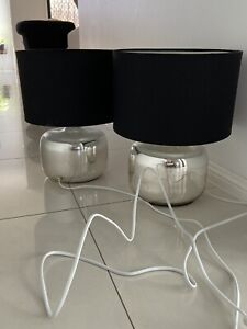 Black and silver bedside table lamps