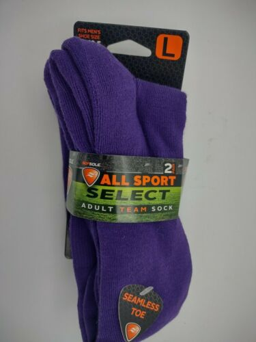 30.  Sof Sol All Sport Select Purple Over Calf Sock, Size Large 10-12.5. 2 Pair