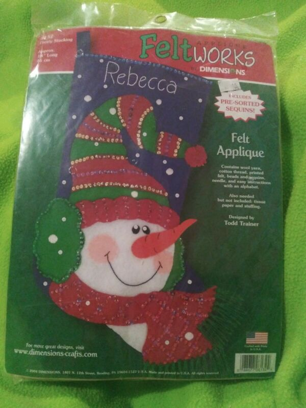 Applique FeltWorks by Dimensions:  FROSTY STOCKING #8132 Christmas NEW