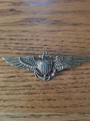 Vintage WW2 US Navy Marine Aviator Pilot's Wing Hall Marked Meyers + Sterling