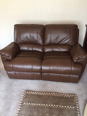 Brown Leather 2 Seater Recliner Sofa In Excellent Condition Hardly Used.