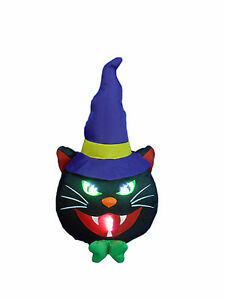 Halloween inflatable lighted black cat indoor outdoor yard for Cat outdoor christmas decorations