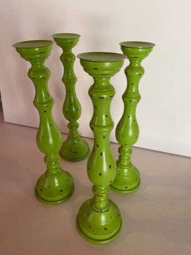"""Candlestick holders:   Title:   Traditional Wood Candle Holder in Green 17"""" Tall"""