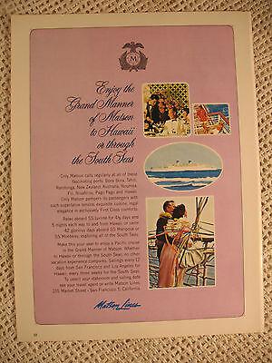 Matson Lines Cruise Ship Hawaii South Seas Vintage Old  1964 Ad