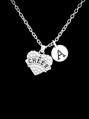Necklace Cheer Initial Cheerleader Cheerleading Squad Pom Pom Christmas - Cheerleader Christmas Gifts