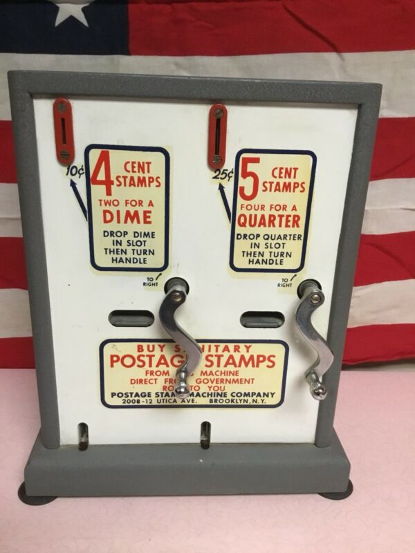 Vintage Working Postage Stamp Double Crank Coin Oper. Dispenser Nice!