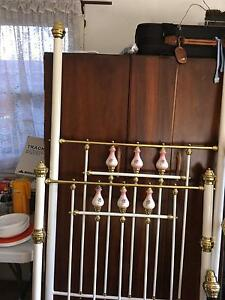 Brass single white and 2 double bed black and brass bed ends Bass Hill Bankstown Area Preview