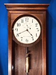 VINTAGE ANTIQUE SETH THOMAS NO.4 WALL CLOCK,1 BRASS WEIGHT DRIVEN& MAHOGANY CAST