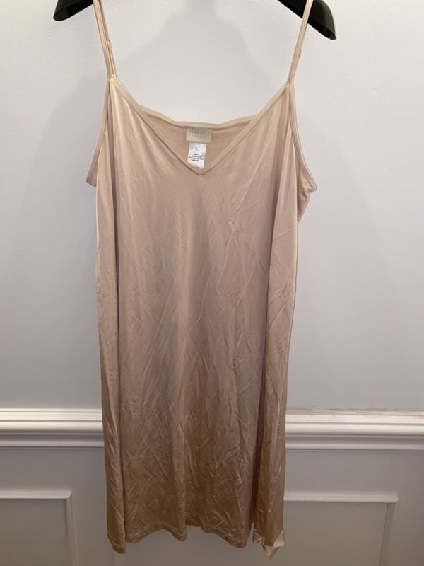 Hanro Switzerland Slip or Night Dress Nude Smooth Stretch Adjustable Straps L