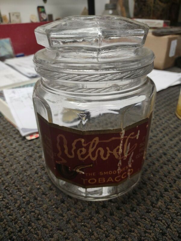 Vintage Velvet Tobacco Jar glass lid paper label