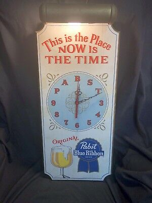 Rare Vintage Pabst Blue Ribbon Beer Clock W/Light for sale  Logan
