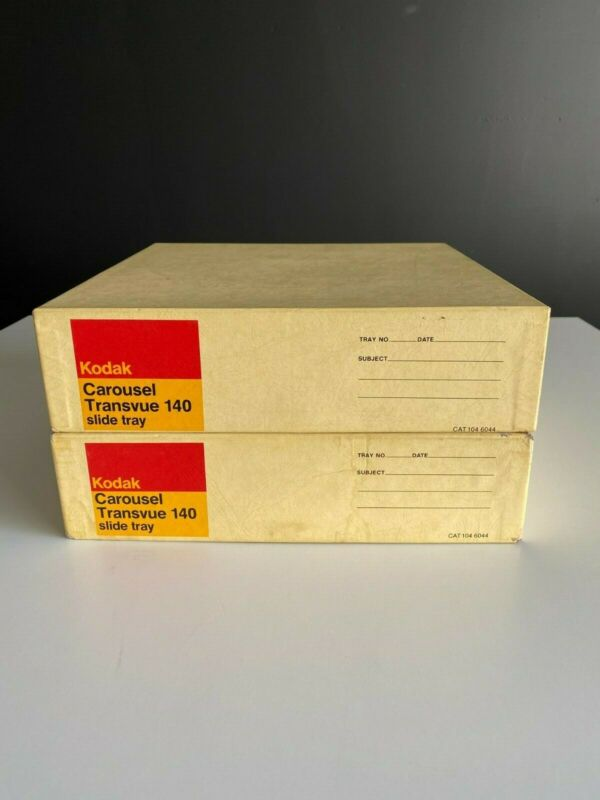 x2 Kodak Carousel Transvue 140 Projector Slide Trays with original boxes 35mm