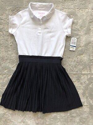 Nautica Girls NWT Dress School Uniform White Navy Pleated Size XL/6X